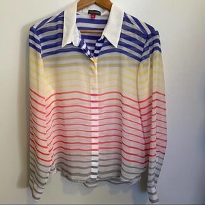 Vince Camuto sheer stripe blouse size Large